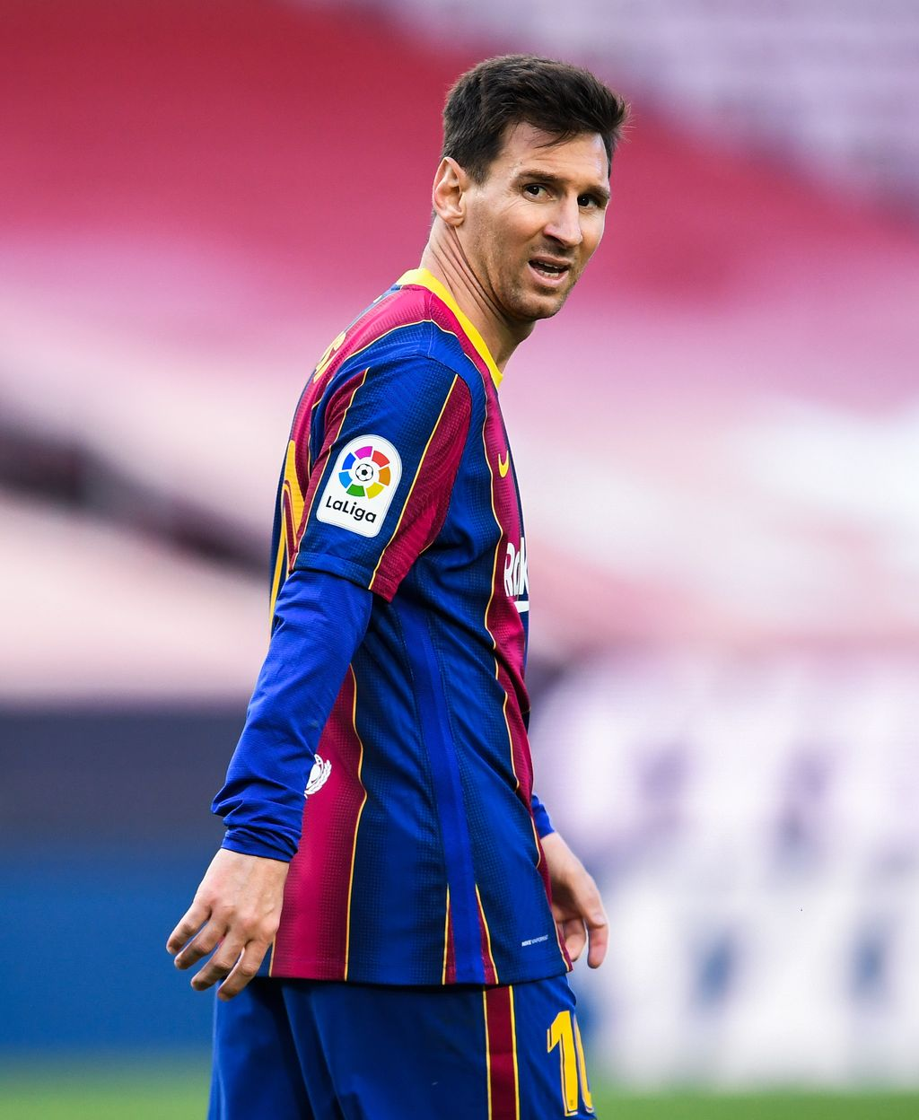 BARCELONA, SPAIN - MAY 16: Lionel Messi of FC Barcelona looks on during the La Liga Santander match between FC Barcelona and RC Celta at Camp Nou on May 16, 2021 in Barcelona, Spain. Sporting stadiums around Spain remain under strict restrictions due to the Coronavirus Pandemic as Government social distancing laws prohibit fans inside venues resulting in games being played behind closed doors. (Photo by David Ramos/Getty Images)
