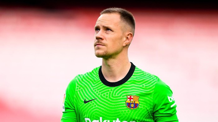 BARCELONA, SPAIN - MAY 16: Marc-Andre ter Stegen of FC Barcelona looks on during the La Liga Santander match between FC Barcelona and RC Celta at Camp Nou on May 16, 2021 in Barcelona, Spain. Sporting stadiums around Spain remain under strict restrictions due to the Coronavirus Pandemic as Government social distancing laws prohibit fans inside venues resulting in games being played behind closed doors. (Photo by David Ramos/Getty Images)