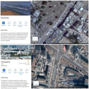 Citra satelit Gaza di Google Earth (atas) dan Pyongyang