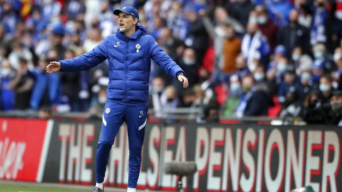 Chelseas head coach Thomas Tuchel reacts during the FA Cup final soccer match between Chelsea and Leicester City at Wembley Stadium in London, England, Saturday, May 15, 2021. (Nick Potts/Pool via AP)