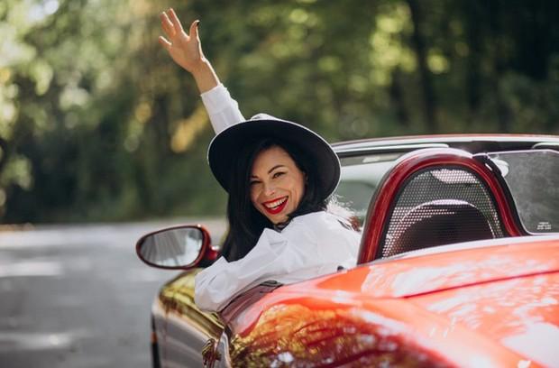 Beautiful Woman Driving Red Car | Freepik.com