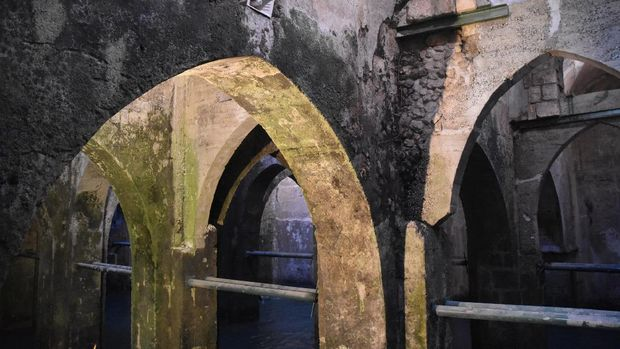 Ancient Pool of the Arches In Ramla, Israel. The Arches Pool is a 8th Century underground water reservoir
