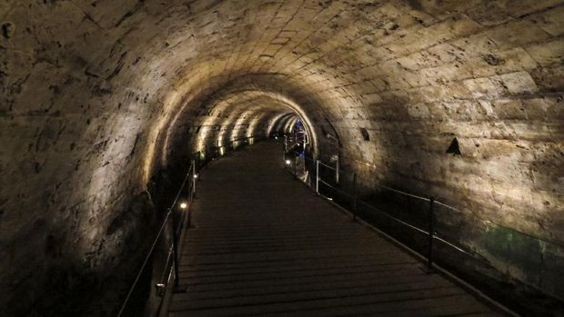 Acre or Akko, Israel - The Templar Tunnel in the old city of Acre