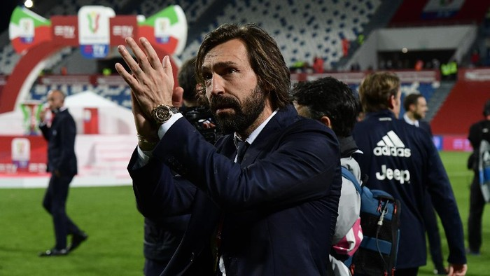 REGGIO NELLEMILIA, ITALY - MAY 19: Andrea Pirlo, Head Coach of Juventus looks on following the TIMVISION Cup Final between Atalanta BC and Juventus on May 19, 2021 in Reggio nellEmilia, Italy. A limited number of fans will be allowed into the stadium as Coronavirus restrictions begin to ease in Italy. (Photo by Marco Rosi/Getty Images for Lega Serie A)
