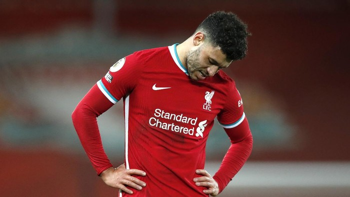 LIVERPOOL, ENGLAND - DECEMBER 27: Alex Oxlade-Chamberlain of Liverpool reacts after the Premier League match between Liverpool and West Bromwich Albion at Anfield on December 27, 2020 in Liverpool, England. A limited number of fans (2000) are welcomed back to stadiums to watch elite football across England. This was following easing of restrictions on spectators in tiers one and two areas only. (Photo by Clive Brunskill/Getty Images)