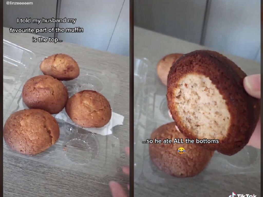 Romantis! Suami Makan bagian Bawah Muffin Agar Istrinya Bisa Makan Atasnya