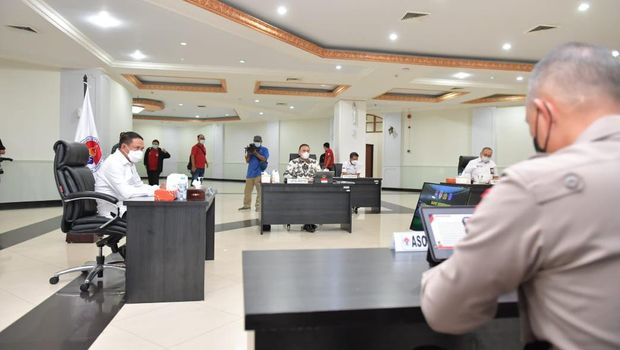 Rapat koordinasi terkait pengkajian pemberian rekomendasi dan izin keramaian di Kantor Kemenpora, Senayan, Senin (24/5/2021).