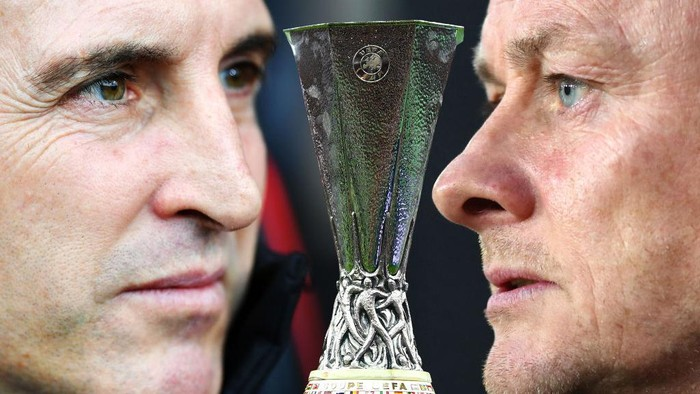 FILE PHOTO (EDITORS NOTE: COMPOSITE OF IMAGES - Image numbers 1065112934, 1152467118, 1139964960 - GRADIENT ADDED) In this composite image a comparison has been made between Unai Emery, Head Coach of Villarreal CF and Ole Gunnar Solskjaer, Manager of Manchester United. Villarreal CF and Manchester United meet in the Europa League Final on May 26,2021 at the Gdansk Arena in Gdansk,Poland. ***LEFT IMAGE*** BOURNEMOUTH, ENGLAND - NOVEMBER 25: Unai Emery, Manager of Arsenal looks on prior to the Premier League match between AFC Bournemouth and Arsenal FC at Vitality Stadium on November 25, 2018 in Bournemouth, United Kingdom. (Photo by Dan Mullan/Getty Images) ***CENTER IMAGE*** BAKU, AZERBAIJAN - MAY 29: A detailed view of the Europa League Trophy is seen prior to the UEFA Europa League Final between Chelsea and Arsenal at Baku Olimpiya Stadionu on May 29, 2019 in Baku, Azerbaijan. (Photo by Michael Regan/Getty Images) ***RIGHT IMAGE*** WOLVERHAMPTON, ENGLAND - APRIL 02: Ole Gunnar Solskjaer, Manager of Manchester United looks on prior to the Premier League match between Wolverhampton Wanderers and Manchester United at Molineux on April 02, 2019 in Wolverhampton, United Kingdom. (Photo by Catherine Ivill/Getty Images)
