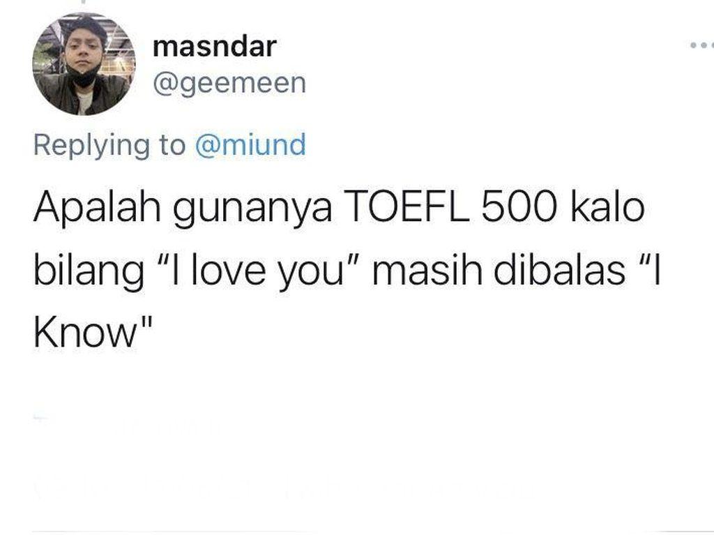 8 Tweet Kocak Gunanya TOEFL Dalam Percintaan, Endingnya Nihil Bikin Nyesek