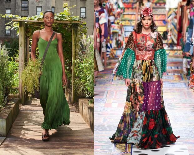 Maxi dress pada fashion show Michael Kors (kiri) dan Dolce & Gabbana (kanan).
