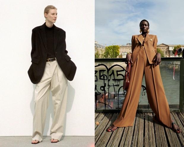 Baggy pants The Row (kiri) dan Schiaparelli (kanan).