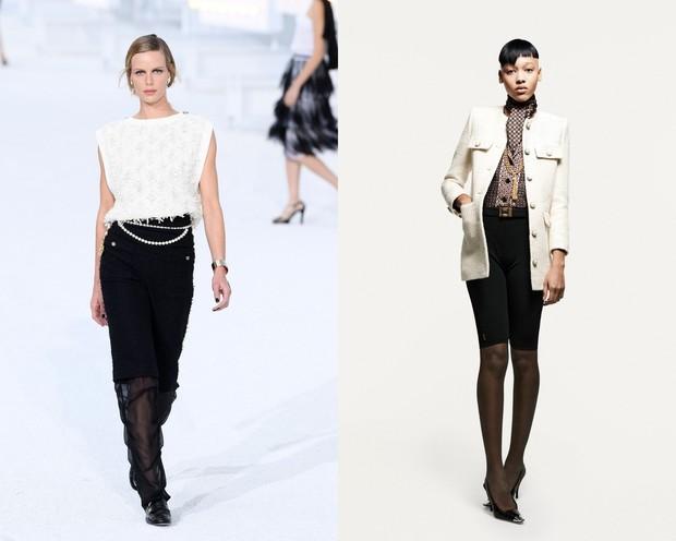 Warna monokrom pada Chanel (kiri) dan Saint Laurent (kanan).
