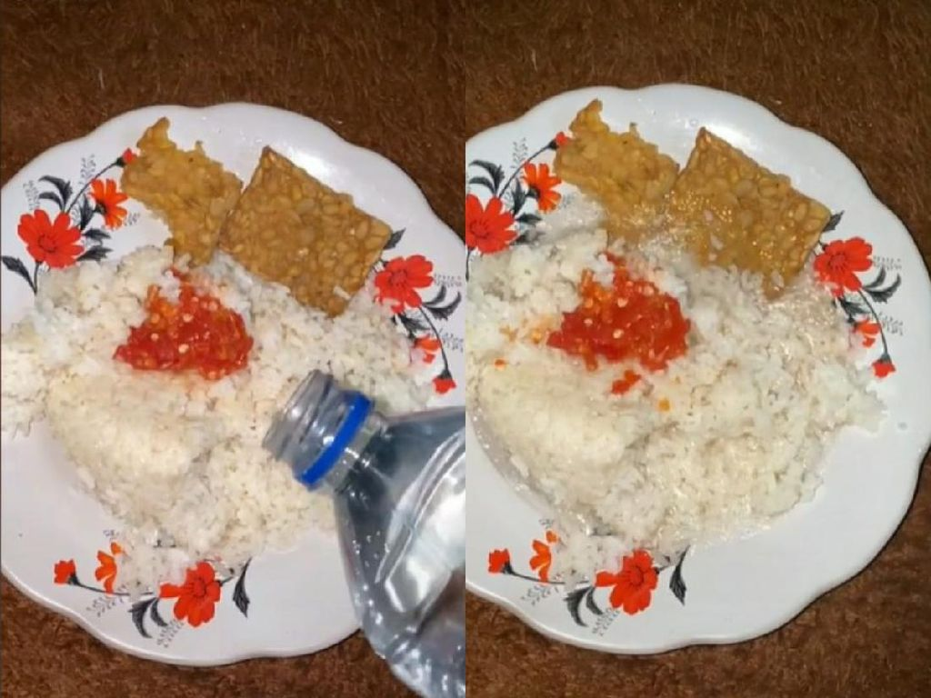 Viral Wanita Makan Nasi Pakai Air Putih, Apa Rasanya Ya?
