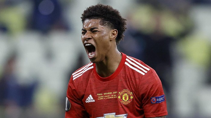 GDANSK, POLAND - MAY 26: Marcus Rashford of Manchester United reacts after missing a chance on goal during the UEFA Europa League Final between Villarreal CF and Manchester United at Gdansk Arena on May 26, 2021 in Gdansk, Poland. (Photo by Kacper Pempel - Pool/Getty Images)