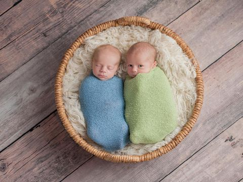 Four week old fraternal, twin baby boys swaddled in light blue and green wraps and lying in a wicker basket. One brother appears to be whispering a secret to the other brother.