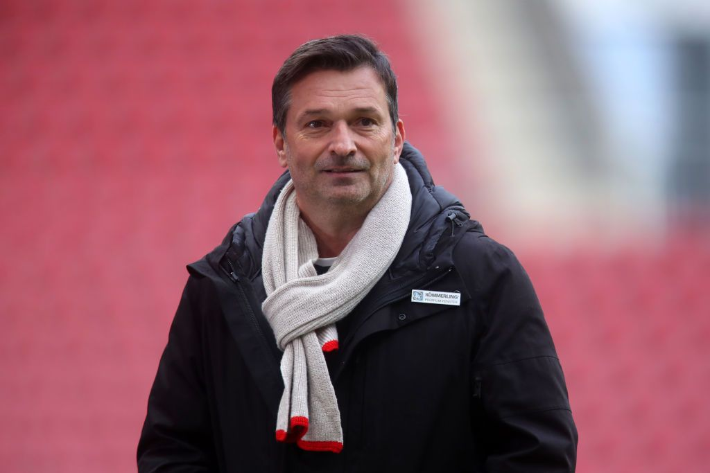 MAINZ, GERMANY - JANUARY 09:  Christian Heidel, Sporting director of 1. FSV Mainz 05 looks on prior to the Bundesliga match between 1. FSV Mainz 05 and Eintracht Frankfurt at Opel Arena on January 09, 2021 in Mainz, Germany. Sporting stadiums around Germany remain under strict restrictions due to the Coronavirus Pandemic as Government social distancing laws prohibit fans inside venues resulting in games being played behind closed doors. (Photo by Alex Grimm/Getty Images)