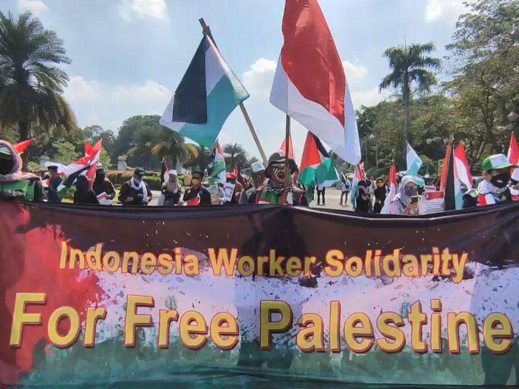 Massa GPMI Gelar Aksi Bela Palestina di Kantor PBB-Kedubes AS