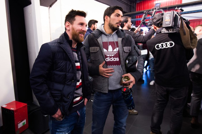 MONTMELO, SPAIN - NOVEMBER 30: Lionel Messi and Luis Suarez of FC Barcelona arrive to the Audi Car handover to the players of FC Barcelona on November 30, 2017 at Circuit de Barcelona-Catalunya in Montmelo, near Barcelona, Spain. (Photo by Alex Caparros/Getty Images for AUDI)