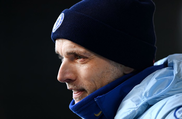 LEEDS, ENGLAND - MARCH 13: Thomas Tuchel, Manager of Chelsea look on as he conducts post match interviews after the Premier League match between Leeds United and Chelsea at Elland Road on March 13, 2021 in Leeds, England. Sporting stadiums around the UK remain under strict restrictions due to the Coronavirus Pandemic as Government social distancing laws prohibit fans inside venues resulting in games being played behind closed doors. (Photo by Laurence Griffiths/Getty Images)
