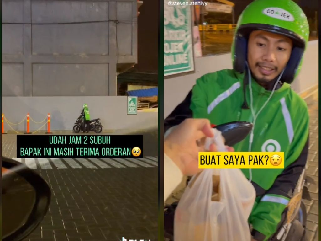 Seleb TikTok Traktir Makan Driver Ojol yang Kerja Dini Hari di Tengah Guyuran Hujan