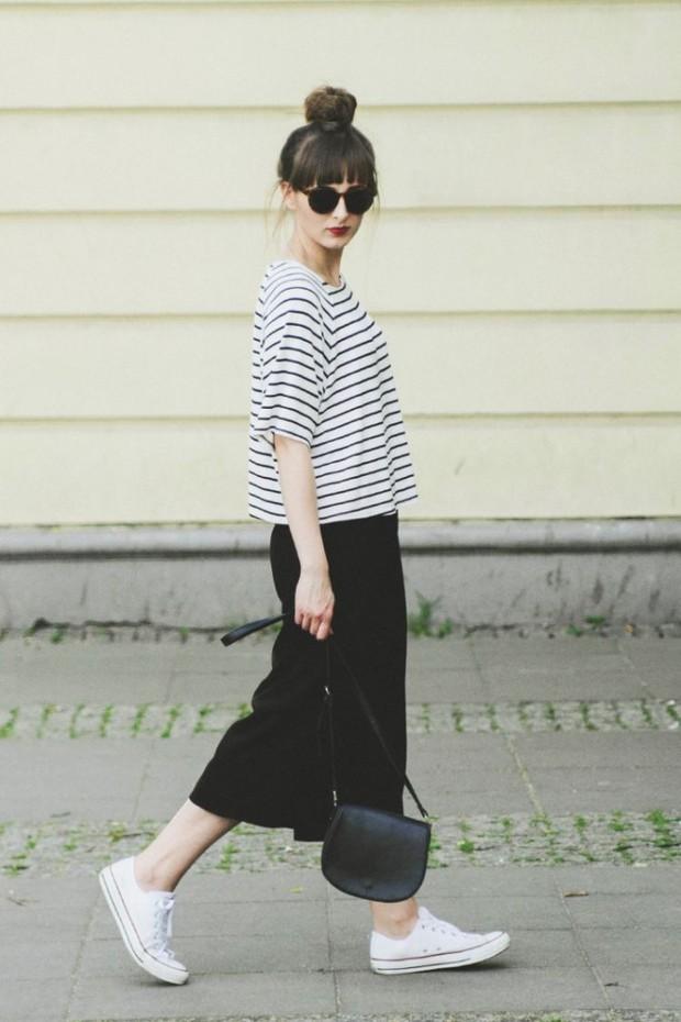 Stripe tee with straight skirt