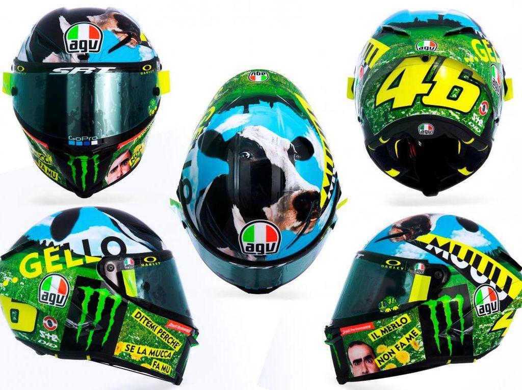 Muu... Helm Rossi Bercorak Sapi di MotoGP Italia 2021