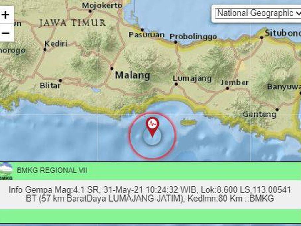 Gempa M 4,1 Terjadi di Kabupaten Lumajang Jatim