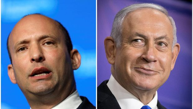 A combination of file photos show Israeli Prime Minister Benjamin Netanyahu at a news conference in Tel Aviv, Israel, March 8, 2021 and Israeli Education Minister Naftali Bennett during a reception in Jerusalem May 14, 2018. Miriam Alster/Pool via REUTERS and REUTERS/Ammar Awad