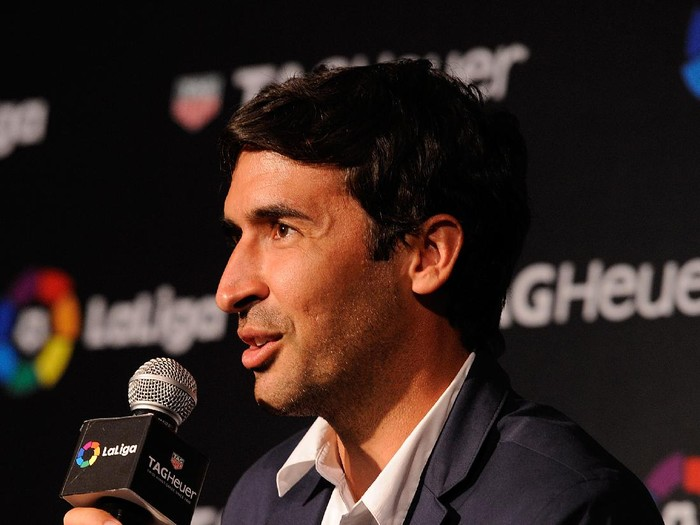 MADRID, SPAIN - JULY 13:  Raul Gonzalez, former Real Madrid player and country manager of La Liga in the U.S. answers questions during the press conference to announce TAG Heuer as the Official Timekeeper and Official Sponsor of La Liga at the Royal Theatre on July 13, 2016 in Madrid, Spain.  (Photo by Denis Doyle/Getty Images for Tag Heuer)