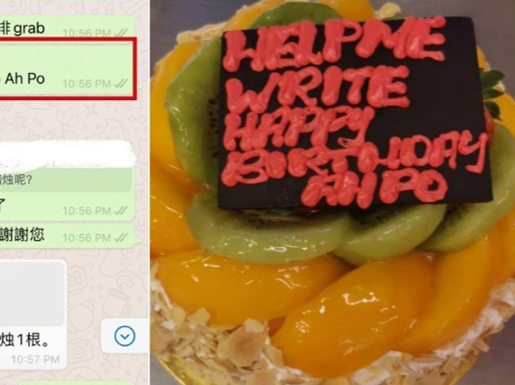 Pesan Kue Ulang Tahun Online, Pria Ini  Ngakak Lihat Tulisannya