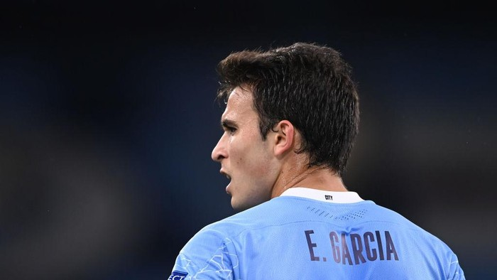 MANCHESTER, ENGLAND - OCTOBER 21: Eric Garcia of Manchester City looks on during the UEFA Champions League Group C stage match between Manchester City and FC Porto at Etihad Stadium on October 21, 2020 in Manchester, England. Sporting stadiums around the UK remain under strict restrictions due to the Coronavirus Pandemic as Government social distancing laws prohibit fans inside venues resulting in games being played behind closed doors. (Photo by Laurence Griffiths/Getty Images)