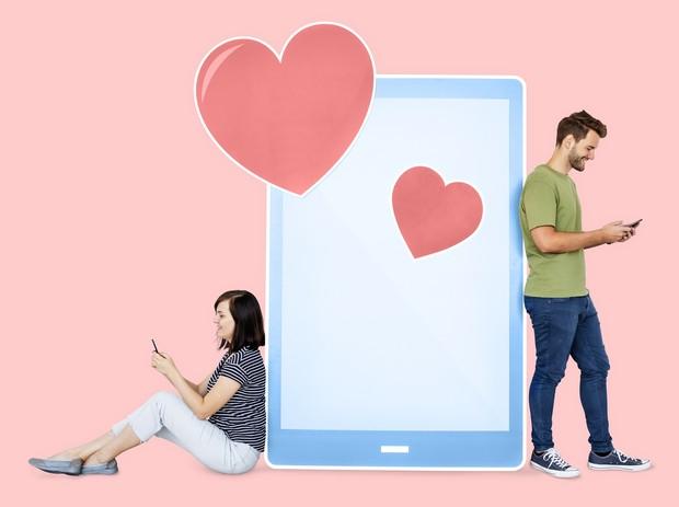 Ilustrasi orang yang sedang berada dalam hubungan virtual