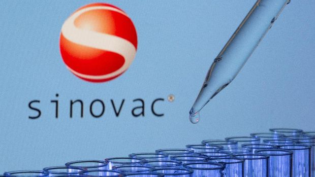 FILE PHOTO: Test tubes are seen in front of a displayed Sinovac logo in this illustration taken, May 21, 2021. REUTERS/Dado Ruvic/Illustration/File Photo