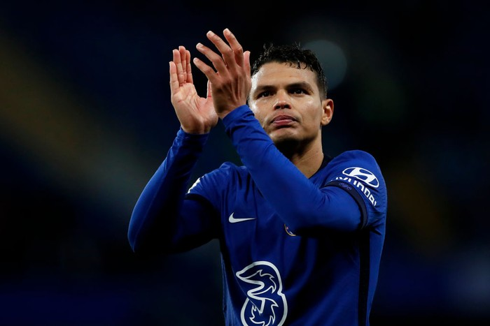 LONDON, ENGLAND - MAY 18: Thiago Silva of Chelsea interacts with the crowd following the Premier League match between Chelsea and Leicester City at Stamford Bridge on May 18, 2021 in London, England. A limited number of fans will be allowed into Premier League stadiums as Coronavirus restrictions begin to ease in the UK following the COVID-19 pandemic. (Photo by Peter Cziborra - Pool/Getty Images)