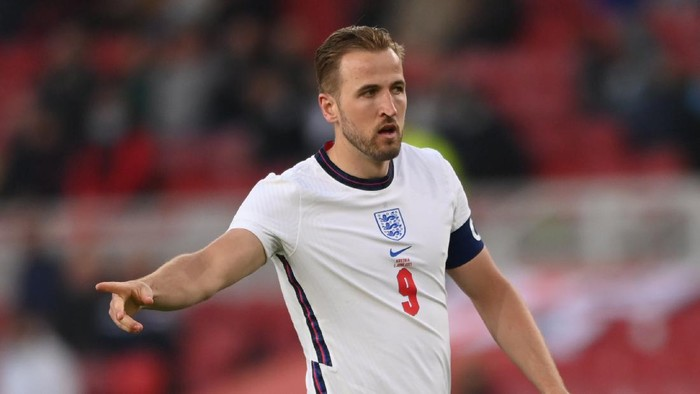 MIDDLESBROUGH, ENGLAND - JUNE 02: England player Harry Kane in action during the international friendly match between England and Austria at Riverside Stadium on June 02, 2021 in Middlesbrough, England. (Photo by Stu Forster/Getty Images)