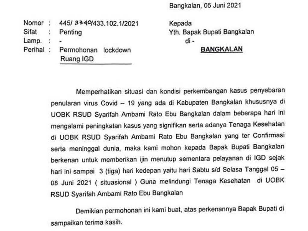 RSUD Syarifah Ambami Rato Ebu Bangkalan Izin Bupati Lockdown IGD 3 Hari