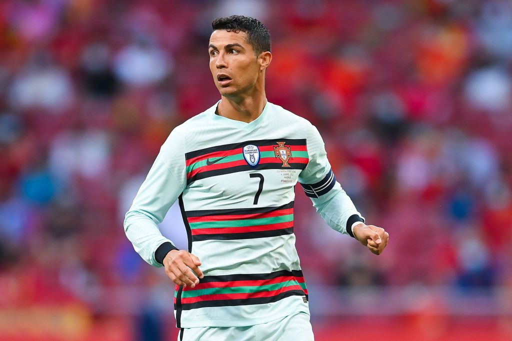 MADRID, SPAIN - JUNE 04: Cristiano Ronaldo of Portugal looks on during the international friendly match between Spain and Portugal at Wanda Metropolitano stadium on June 04, 2021 in Madrid, Spain. (Photo by David Ramos/Getty Images)