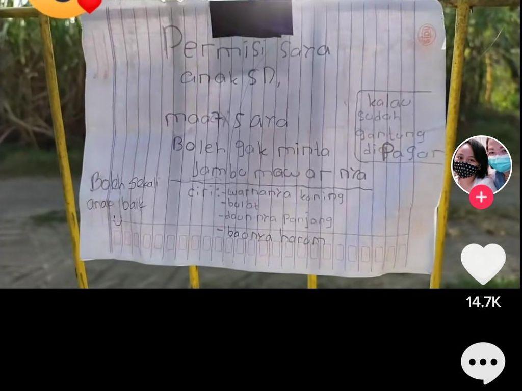Sopan Sekali! Bocah SD di Sleman Minta Jambu Tetangga Lewat Surat