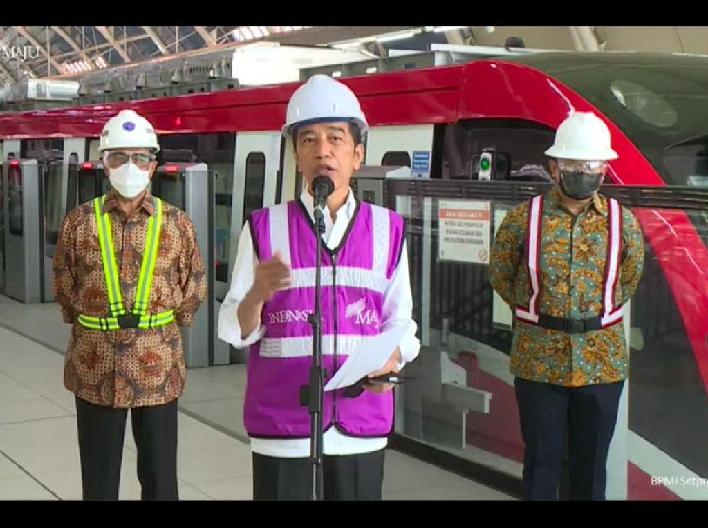 Progres Capai 84%, Jokowi Targetkan LRT Jabodebek Beroperasi Juni 2022