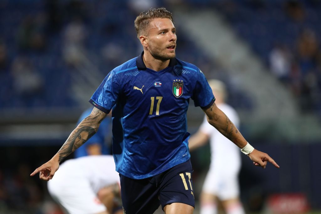 BOLOGNA, ITALY - JUNE 04: Ciro Immobile #17 of Italy celebrates with his team-mates after scoring the opening goal during the international friendly match between Italy and Czech Republic at  on June 04, 2021 in Bologna, Italy. (Photo by Marco Luzzani/Getty Images)