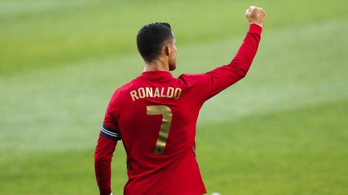 Portugals Cristiano Ronaldo celebrates after scoring his sides second goal during the international friendly soccer match between Portugal and Israel at the Alvalade stadium in Lisbon, Wednesday, June 9, 2021. (AP Photo/Armando Franca)