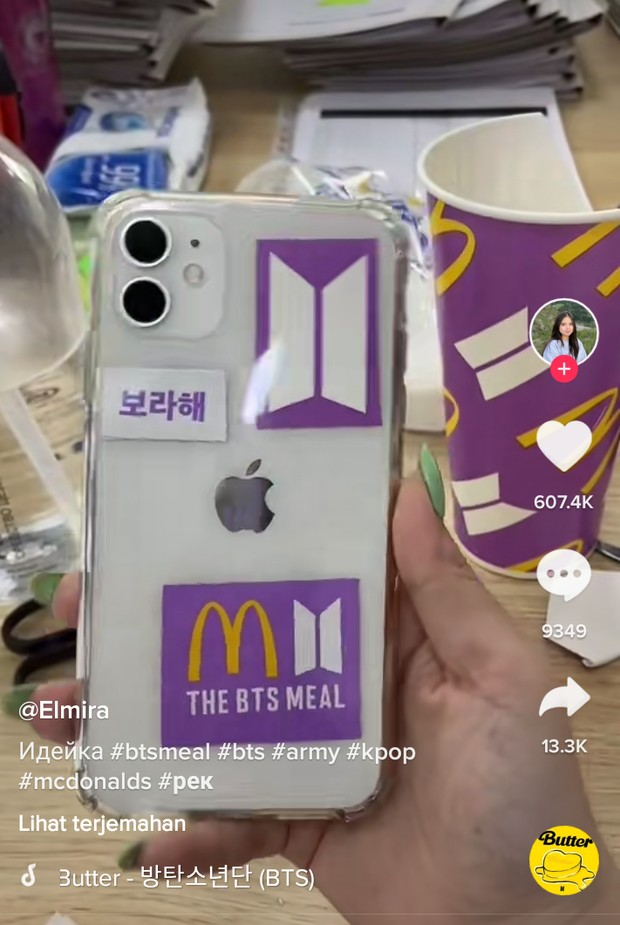 Kreasi stiker BTS Meal dijadikan stikel handphone/TikTok/Elmira