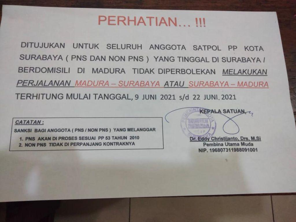 Satpol PP Surabaya Keluarkan Edaran Larang Anggota ke Madura Sementara