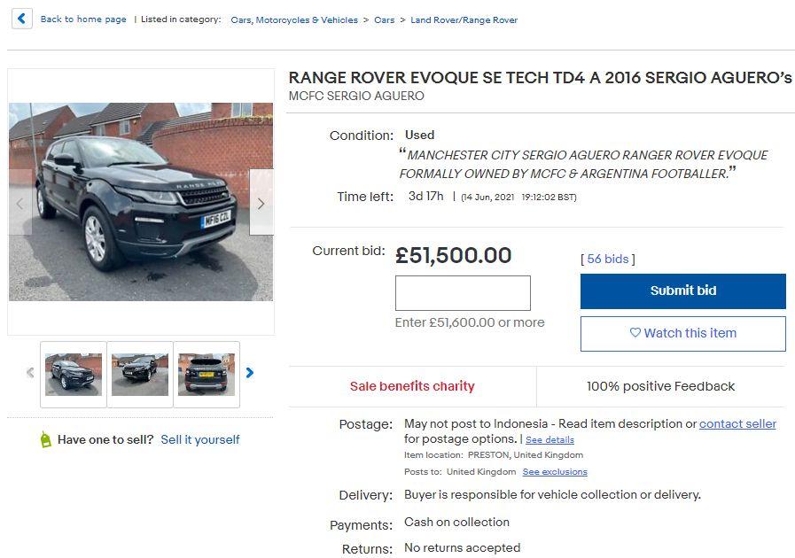Mobil Range Rover hibahan Sergio Aguero untuk staf Manchester City dilelang di situs jual-beli, 10 Juni 2021.