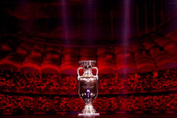 BUCHAREST, ROMANIA - NOVEMBER 30: The Henri Delaunay Trophy is seen on stage after the UEFA Euro 2020 Final Draw Ceremony at the Romexpo on November 30, 2019 in Bucharest, Romania. (Photo by Dean Mouhtaropoulos/Getty Images)