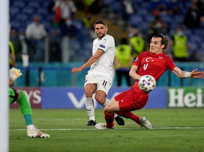 ROME, ITALY - JUNE 11: Domenico Berardi of Italy crosses the ball in incident leading to Merih Demiral of Turkey scoring an own goal for Italys first goal during the UEFA Euro 2020 Championship Group A match between Turkey and Italy at the Stadio Olimpico on June 11, 2021 in Rome, Italy. (Photo by Mike Hewitt/Getty Images)