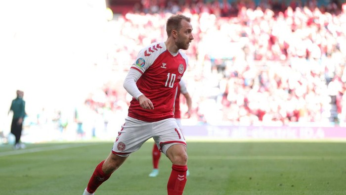 COPENHAGEN, DENMARK - JUNE 12: Christian Eriksen of Denmark in action during the UEFA Euro 2020 Championship Group B match between Denmark and Finland on June 12, 2021 in Copenhagen, Denmark. (Photo by Friedemann Vogel - Pool/Getty Images)