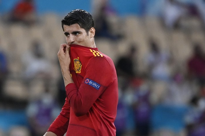 Spains Alvaro Morata gestures during the Euro 2020 soccer championship group E match between Spain and Sweden at La Cartuja stadium in Seville, Monday, June 14, 2021. (AP Photo/Pierre Philippe Marcou, Pool)