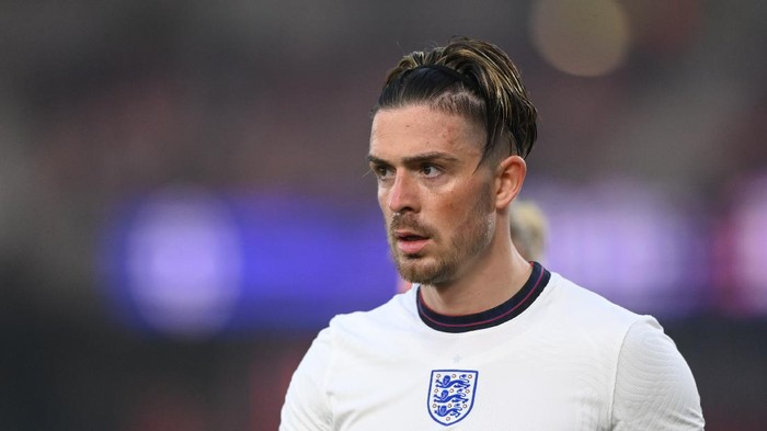 MIDDLESBROUGH, ENGLAND - JUNE 02: England player Jack Grealish looks on during the international friendly match between England and Austria at Riverside Stadium on June 02, 2021 in Middlesbrough, England. (Photo by Stu Forster/Getty Images)