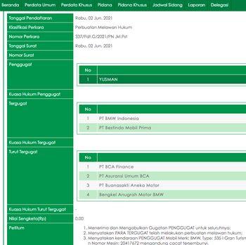 Tangkapan layar dari Sistem Informasi Penelusuran Perkara